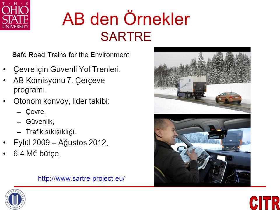 AB den Örnekler SARTRE •Çevre için Güvenli Yol Trenleri. •AB Komisyonu 7. Çerçeve programı. •Otonom konvoy, lider takibi: –Çevre, –Güvenlik, –Trafik s