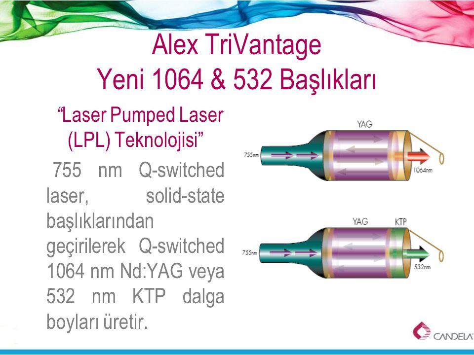 """Alex TriVantage Yeni 1064 & 532 Başlıkları """" Laser Pumped Laser (LPL) Teknolojisi"""" 755 nm Q-switched laser, solid-state başlıklarından geçirilerek Q-s"""
