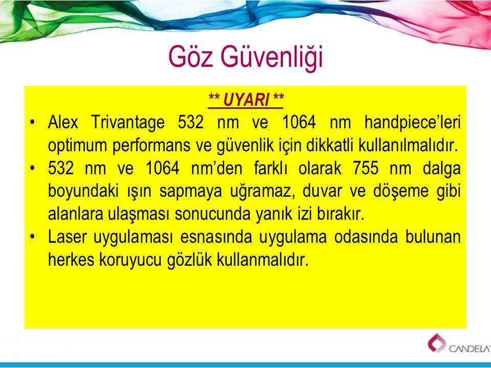 Göz Güvenliği ** UYARI ** •Alex Trivantage 532 nm ve 1064 nm handpiece'leri optimum performans ve güvenlik için dikkatli kullanılmalıdır. •532 nm ve 1