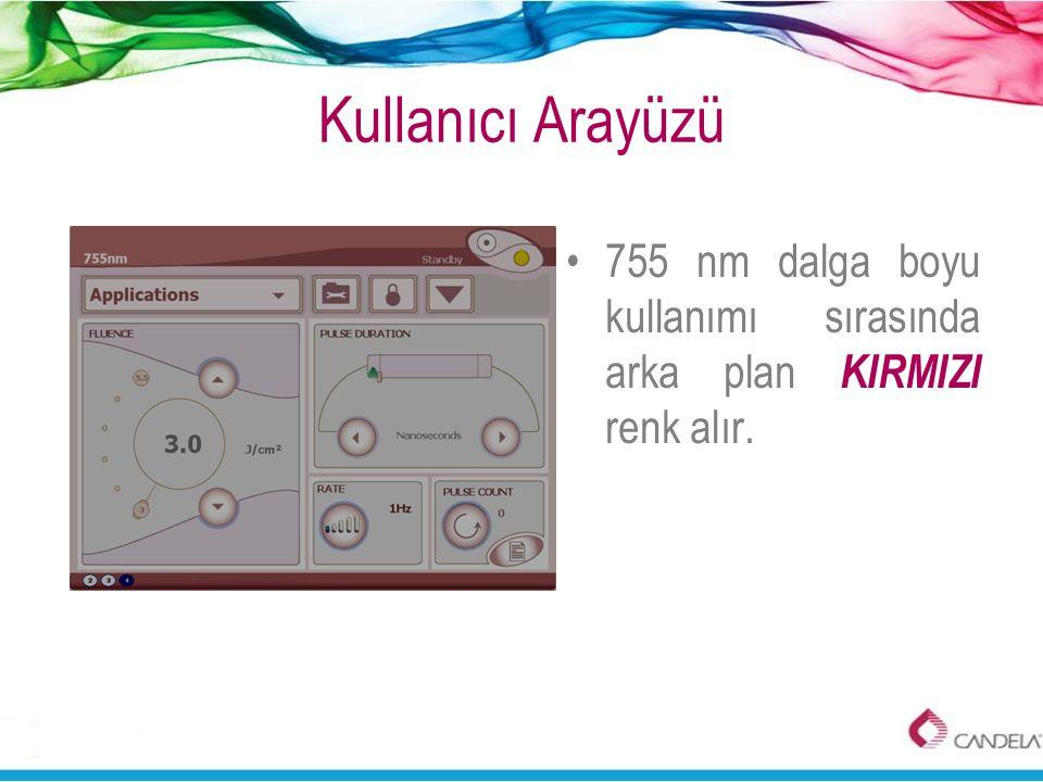 •755 nm dalga boyu kullanımı sırasında arka plan KIRMIZI renk alır.