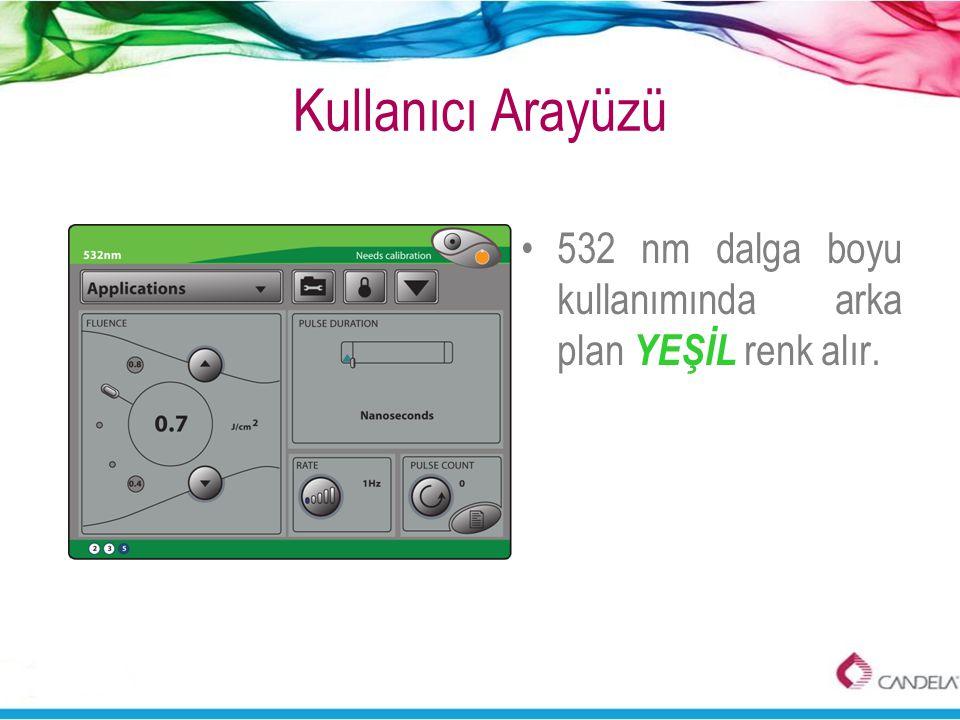 Kullanıcı Arayüzü •532 nm dalga boyu kullanımında arka plan YEŞİL renk alır.