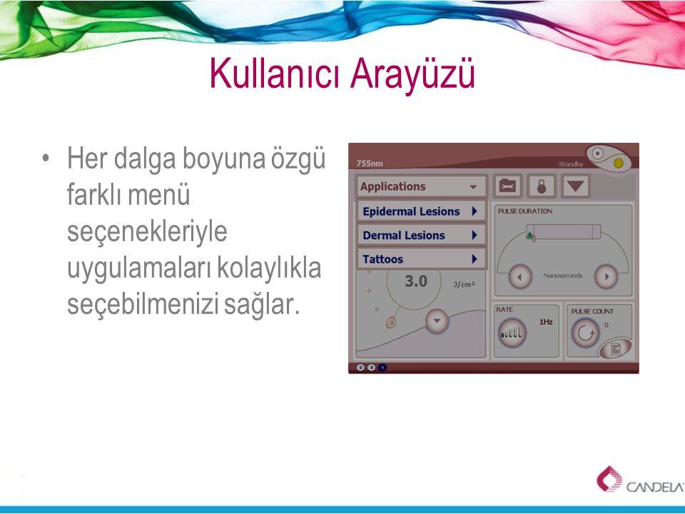 Kullanıcı Arayüzü •Her dalga boyuna özgü farklı menü seçenekleriyle uygulamaları kolaylıkla seçebilmenizi sağlar.