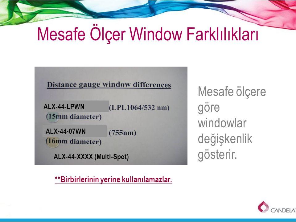 Mesafe Ölçer Window Farklılıkları Mesafe ölçere göre windowlar değişkenlik gösterir. **Birbirlerinin yerine kullanılamazlar. ALX-44-LPWN ALX-44-07WN A