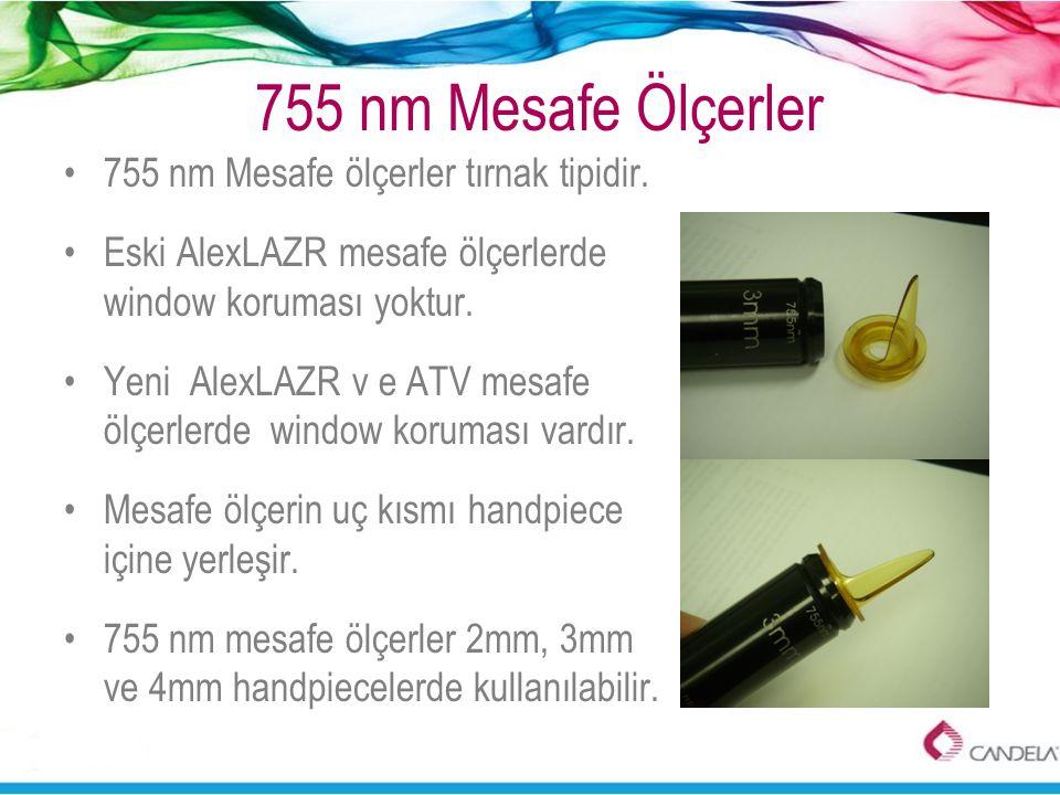 755 nm Mesafe Ölçerler •755 nm Mesafe ölçerler tırnak tipidir. •Eski AlexLAZR mesafe ölçerlerde window koruması yoktur. •Yeni AlexLAZR v e ATV mesafe