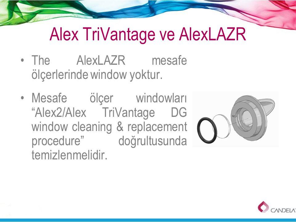 """Alex TriVantage ve AlexLAZR •The AlexLAZR mesafe ölçerlerinde window yoktur. •Mesafe ölçer windowları """"Alex2/Alex TriVantage DG window cleaning & repl"""