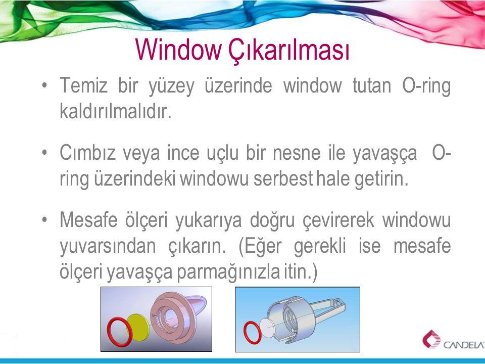 Window Çıkarılması •Temiz bir yüzey üzerinde window tutan O-ring kaldırılmalıdır. •Cımbız veya ince uçlu bir nesne ile yavaşça O- ring üzerindeki wind