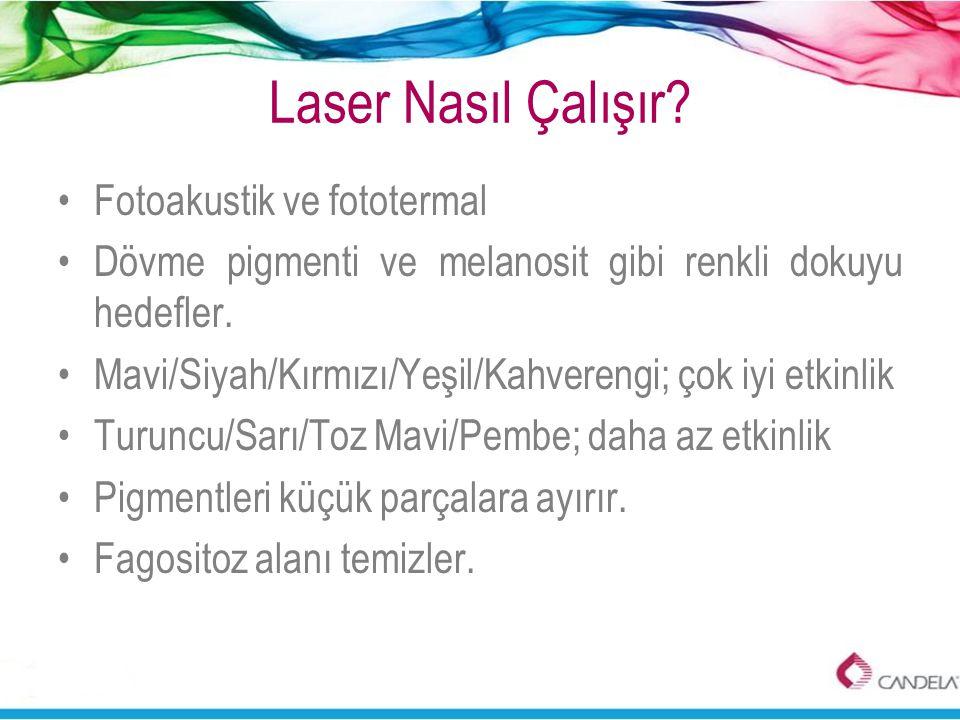 Laser Nasıl Çalışır? •Fotoakustik ve fototermal •Dövme pigmenti ve melanosit gibi renkli dokuyu hedefler. •Mavi/Siyah/Kırmızı/Yeşil/Kahverengi; çok iy