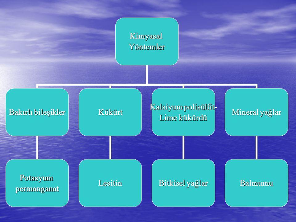KimyasalYöntemler Bakırlı bileşikler Potasyumpermanganat Kükürt Lesitin Kalsiyum polisülfit- Lime kükürdü Bitkisel yağlar Mineral yağlar Balmumu