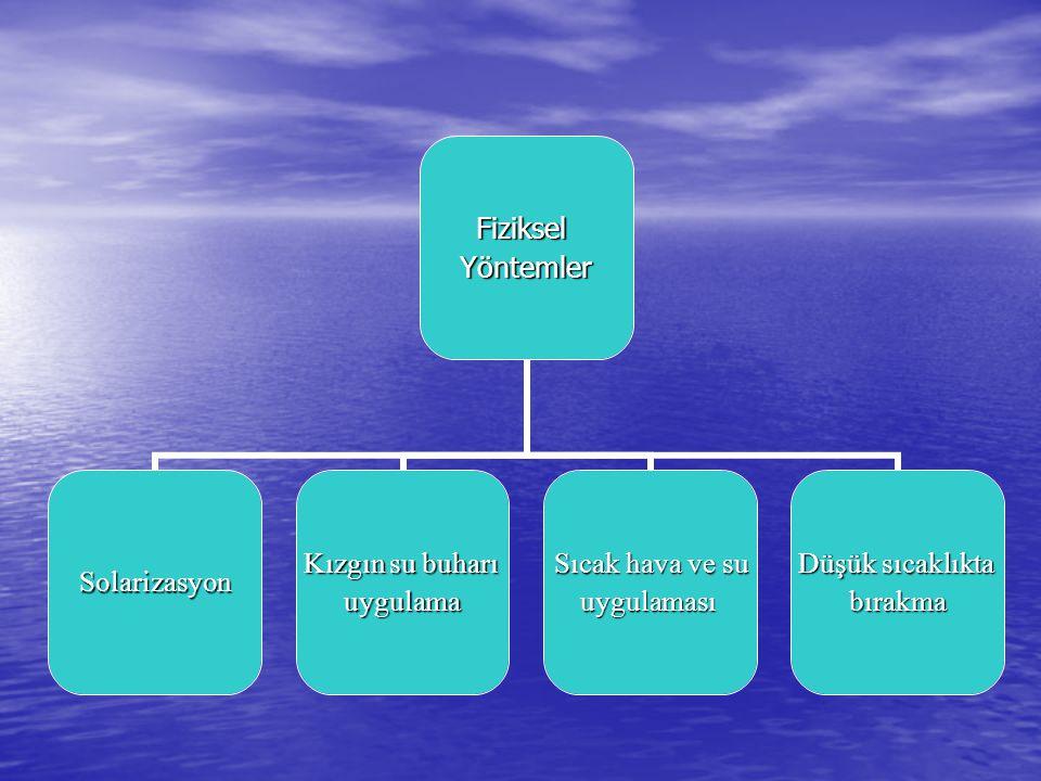 FizikselYöntemler Solarizasyon Kızgın su buharı uygulama Sıcak hava ve su uygulaması Düşük sıcaklıkta bırakma