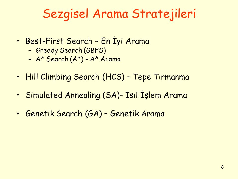 8 Sezgisel Arama Stratejileri •Best-First Search – En İyi Arama –Gready Search (GBFS) –A* Search (A*) – A* Arama •Hill Climbing Search (HCS) – Tepe Tırmanma •Simulated Annealing (SA)– Isıl İşlem Arama •Genetik Search (GA) – Genetik Arama