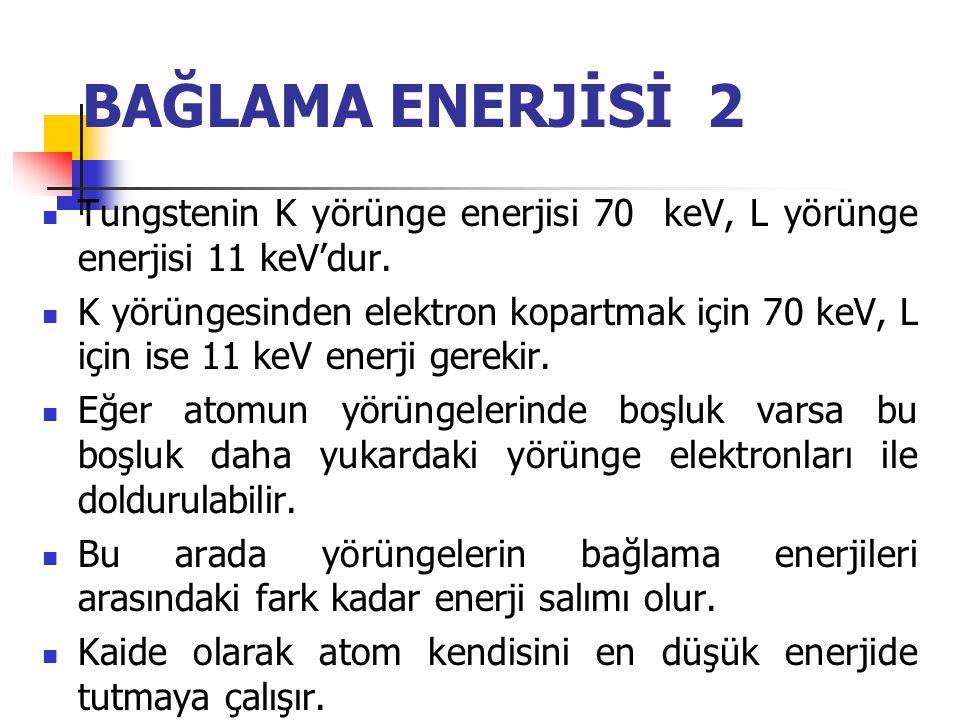BAĞLAMA ENERJİSİ 1  Pozitif yüklü nukleus ile negatif yüklü elektron arasındaki çekici güce bağlama enerjisi denilir.  Bu kuvvet elektronu yörüngede