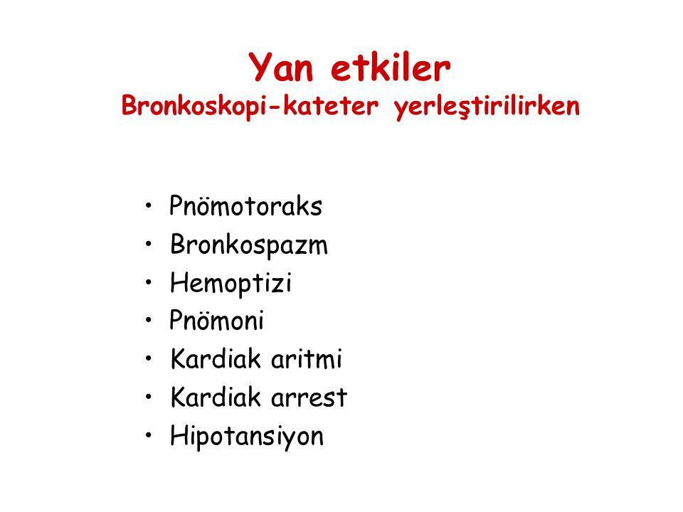 Yan etkiler Bronkoskopi-kateter yerleştirilirken •Pnömotoraks •Bronkospazm •Hemoptizi •Pnömoni •Kardiak aritmi •Kardiak arrest •Hipotansiyon