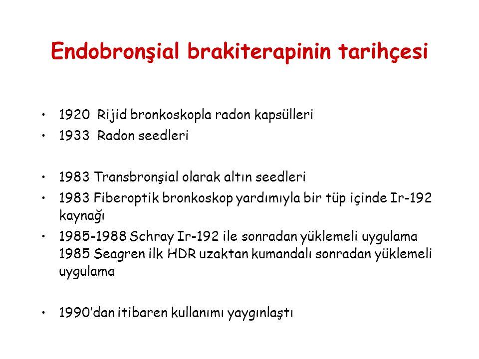 Endobronşial brakiterapinin tarihçesi •1920 Rijid bronkoskopla radon kapsülleri •1933 Radon seedleri •1983 Transbronşial olarak altın seedleri •1983 F