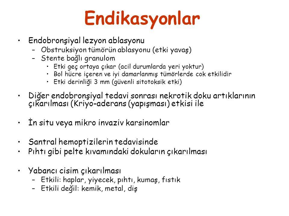 Endikasyonlar •Endobronşiyal lezyon ablasyonu –Obstruksiyon tümörün ablasyonu (etki yavaş) –Stente bağlı granulom •Etki geç ortaya çıkar (acil durumla