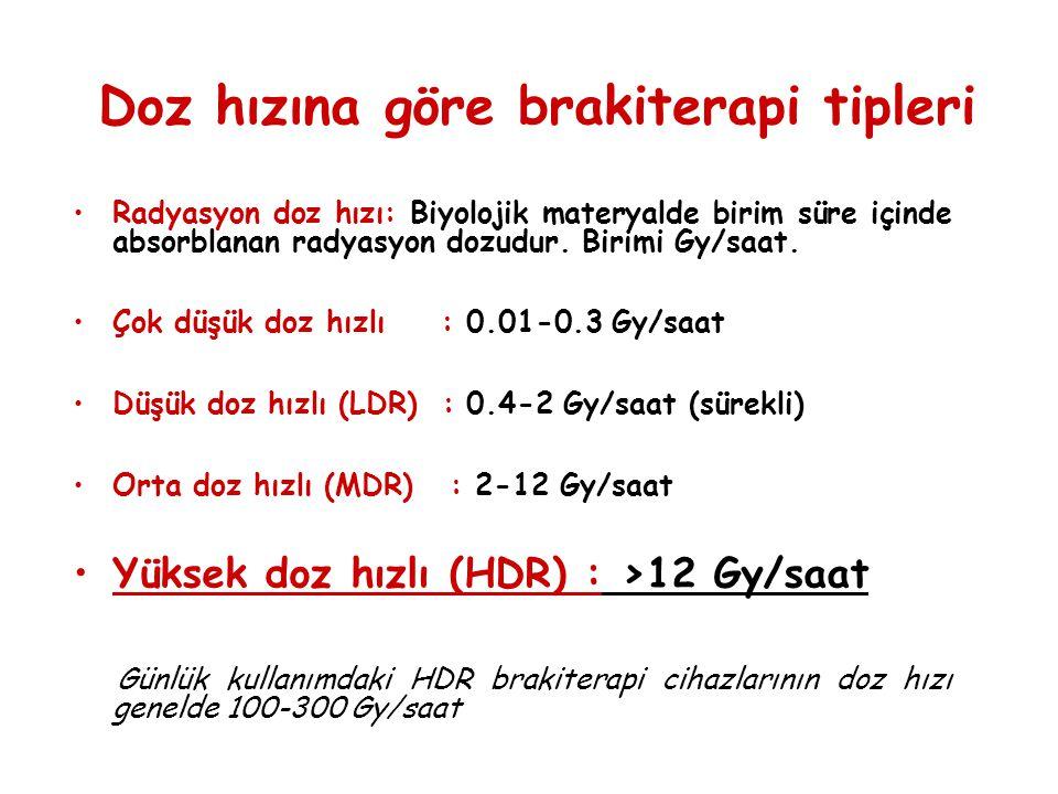 Doz hızına göre brakiterapi tipleri •Radyasyon doz hızı: Biyolojik materyalde birim süre içinde absorblanan radyasyon dozudur. Birimi Gy/saat. •Çok dü