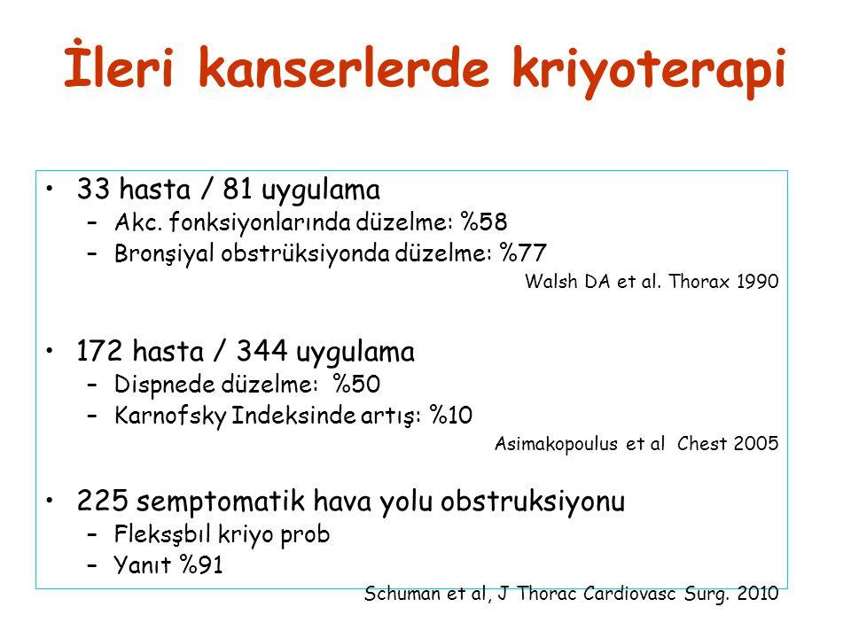 İleri kanserlerde kriyoterapi •33 hasta / 81 uygulama –Akc. fonksiyonlarında düzelme: %58 –Bronşiyal obstrüksiyonda düzelme: %77 Walsh DA et al. Thora