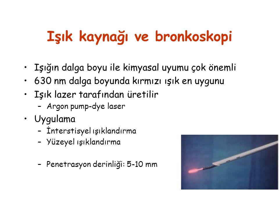 Işık kaynağı ve bronkoskopi •Işığın dalga boyu ile kimyasal uyumu çok önemli •630 nm dalga boyunda kırmızı ışık en uygunu •Işık lazer tarafından üreti