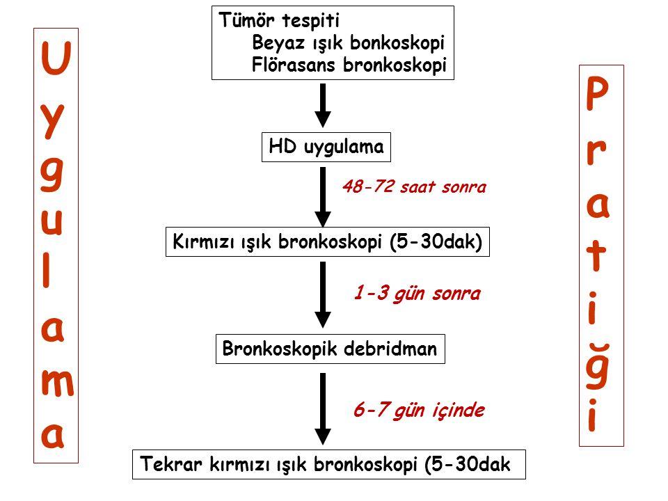 Tümör tespiti Beyaz ışık bonkoskopi Flörasans bronkoskopi HD uygulama Kırmızı ışık bronkoskopi (5-30dak) Bronkoskopik debridman Tekrar kırmızı ışık br