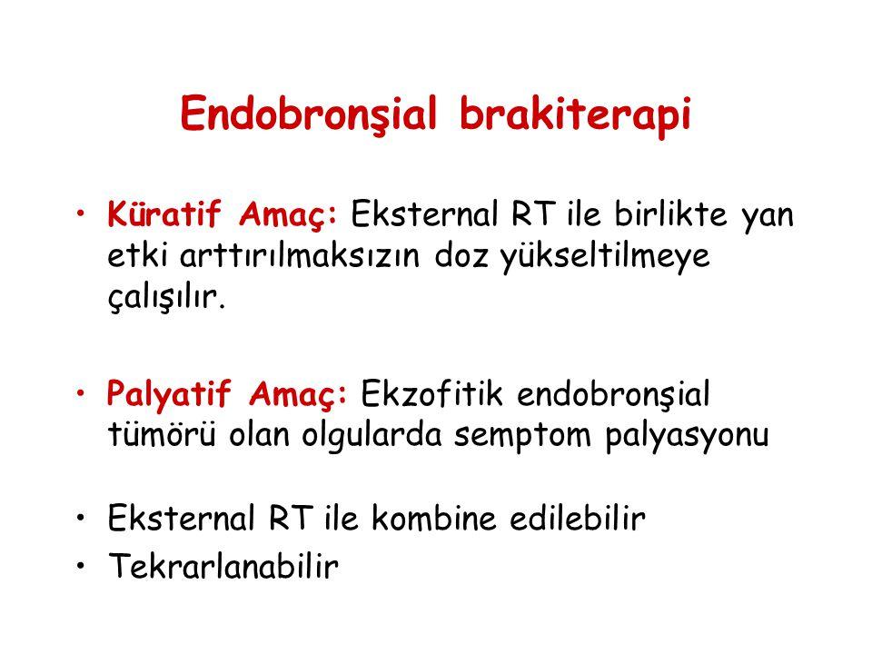 Endobronşial brakiterapi •Küratif Amaç: Eksternal RT ile birlikte yan etki arttırılmaksızın doz yükseltilmeye çalışılır. •Palyatif Amaç: Ekzofitik end