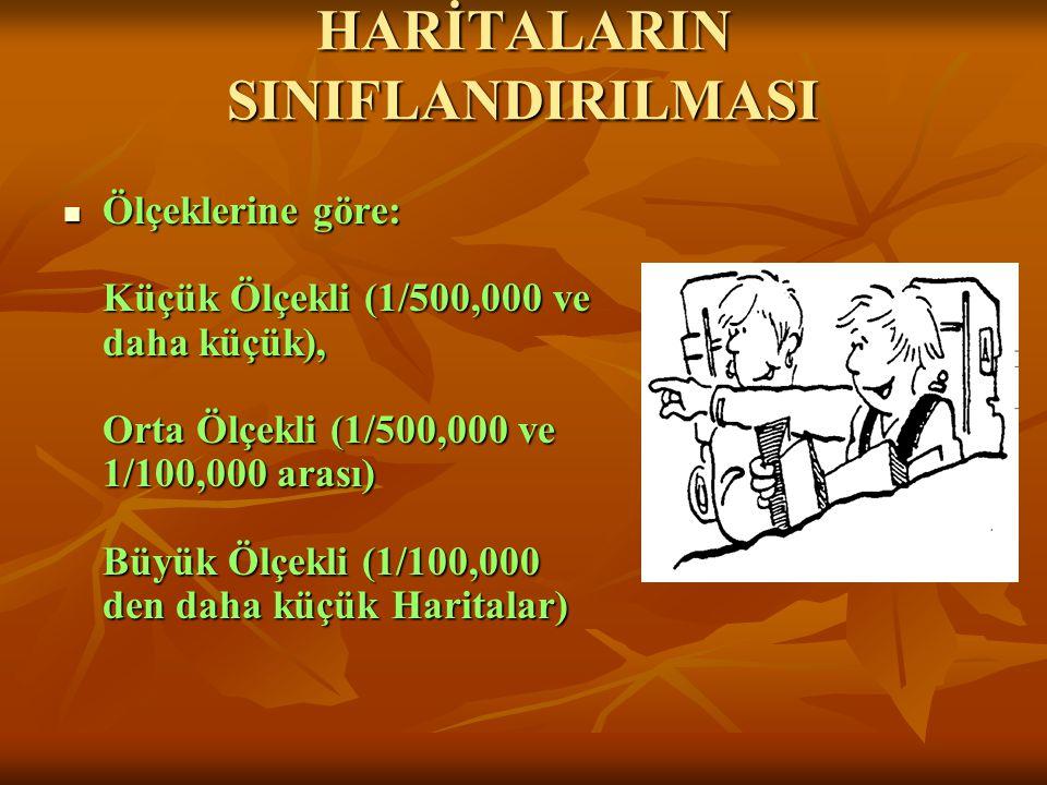 HARİTALARIN SINIFLANDIRILMASI  Ölçeklerine göre: Küçük Ölçekli (1/500,000 ve daha küçük), Orta Ölçekli (1/500,000 ve 1/100,000 arası) Büyük Ölçekli (