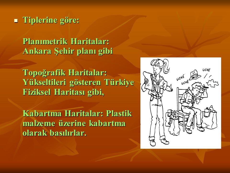  Tiplerine göre: Planımetrik Haritalar: Ankara Şehir planı gibi Topoğrafik Haritalar: Yükseltileri gösteren Türkiye Fiziksel Haritası gibi, Kabartma