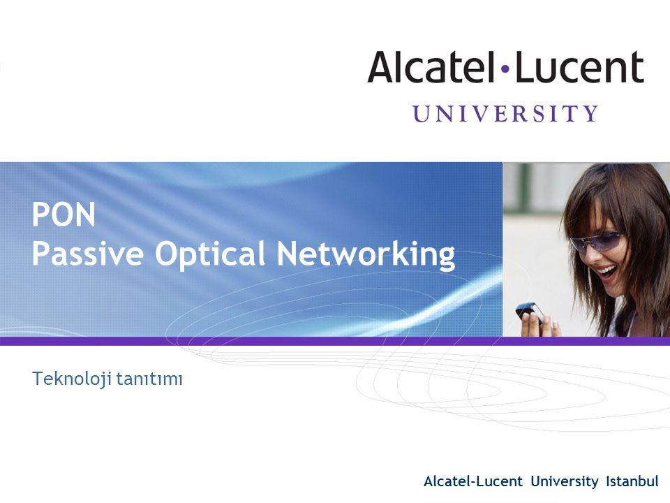 42 PON özellikleri  PON – Passive Optical Network  Pasif bileşenler splitters + WDM-aleti  Yıldız topoloji p2mp – tek noktadan çok noktaya  lambda  1490nm – downstream verisi  1310nm – upstream verisi  1550nm – downstream (opsiyonel)  Mesafe ayarlama  60 km mantıksal erişim  20 km fiziksel erişim Mesafe farkı  Split oranı  64 kullanıcı (gelecek sürümlerde 128) PON