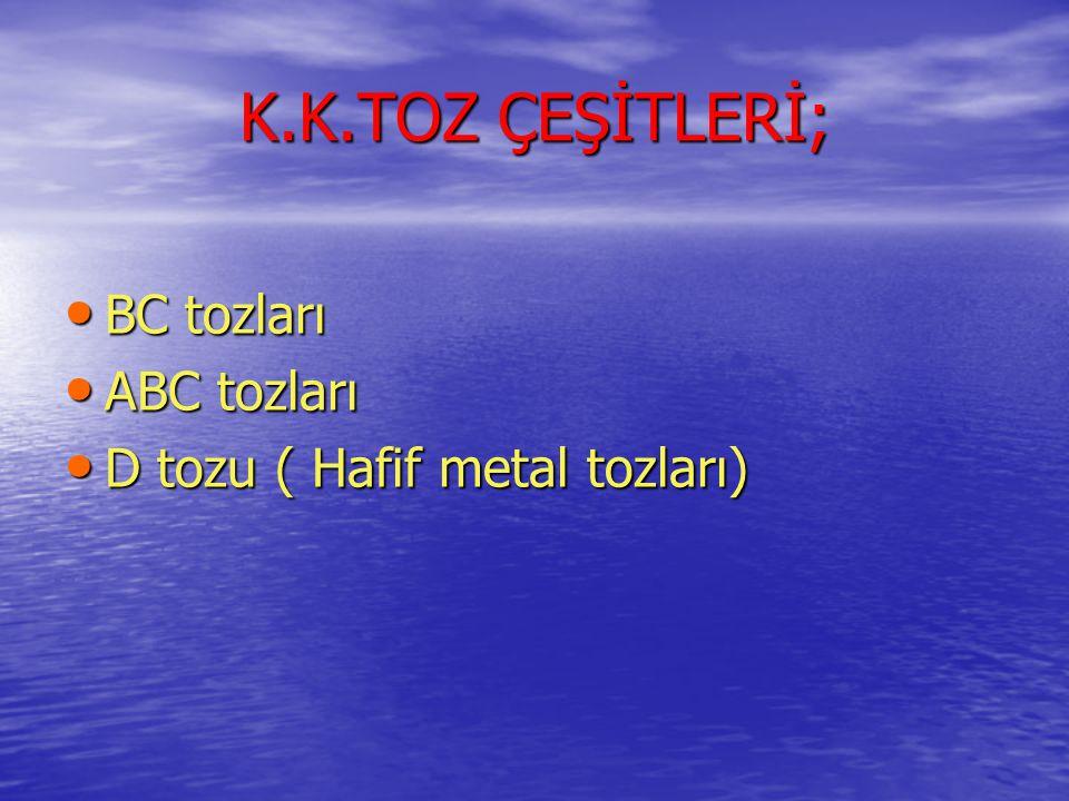 K.K.TOZ ÇEŞİTLERİ; • BC tozları • ABC tozları • D tozu ( Hafif metal tozları)
