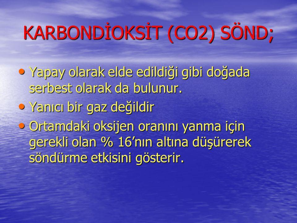 KARBONDİOKSİT (CO2) SÖND; •Y•Y•Y•Yapay olarak elde edildiği gibi doğada serbest olarak da bulunur. •Y•Y•Y•Yanıcı bir gaz değildir •O•O•O•Ortamdaki oks