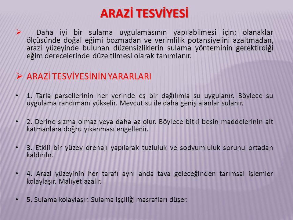 ARAZİ TESVİYESİNİN UYGULANMASINI KISITLAYAN ETMENLER 1.