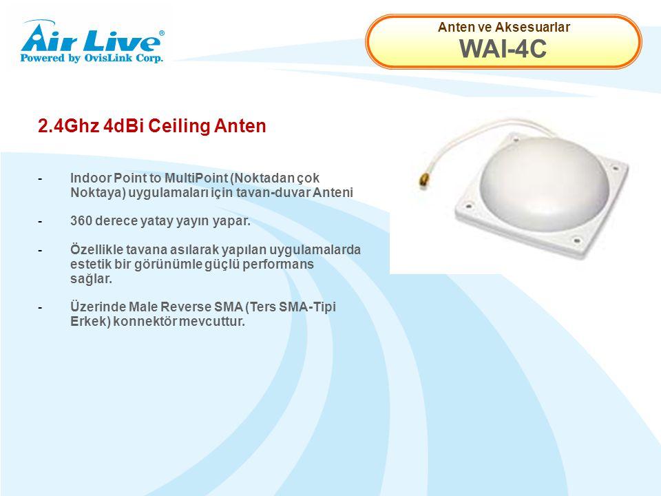 Anten ve Aksesuarlar WAI-4C 2.4Ghz 4dBi Ceiling Anten - Indoor Point to MultiPoint (Noktadan çok Noktaya) uygulamaları için tavan-duvar Anteni - 360 derece yatay yayın yapar.