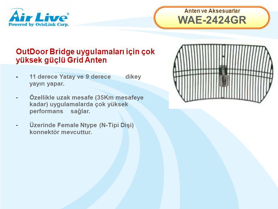 Anten ve Aksesuarlar WAE-2424GR OutDoor Bridge uygulamaları için çok yüksek güçlü Grid Anten - 11 derece Yatay ve 9 derece dikey yayın yapar.