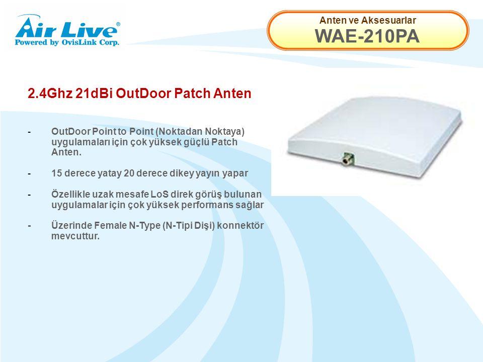 Anten ve Aksesuarlar WAE-210PA 2.4Ghz 21dBi OutDoor Patch Anten - OutDoor Point to Point (Noktadan Noktaya) uygulamaları için çok yüksek güçlü Patch Anten.