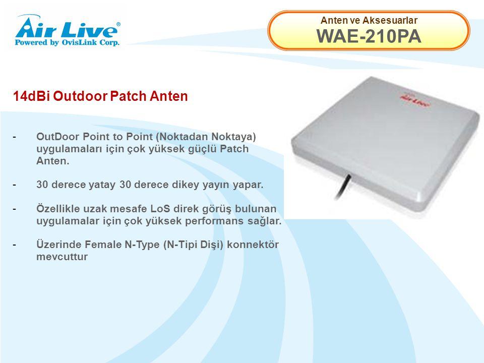 Anten ve Aksesuarlar WAE-210PA 14dBi Outdoor Patch Anten - OutDoor Point to Point (Noktadan Noktaya) uygulamaları için çok yüksek güçlü Patch Anten.