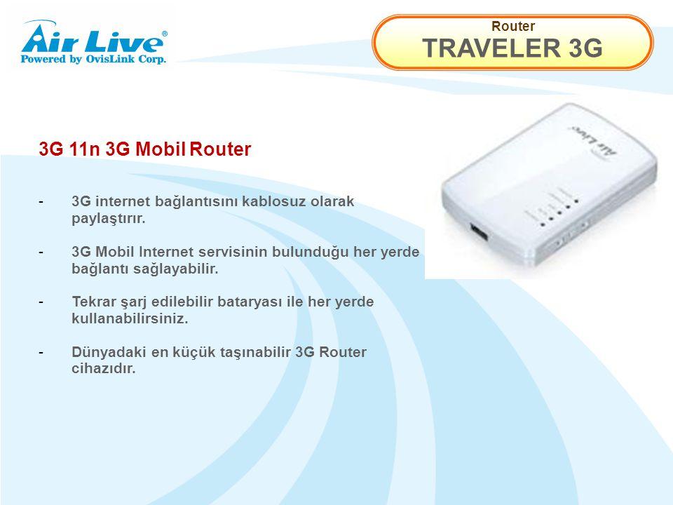 Router TRAVELER 3G 3G 11n 3G Mobil Router - 3G internet bağlantısını kablosuz olarak paylaştırır.