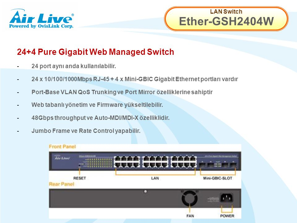 LAN Switch Ether-GSH2404W 24+4 Pure Gigabit Web Managed Switch - 24 port aynı anda kullanılabilir.