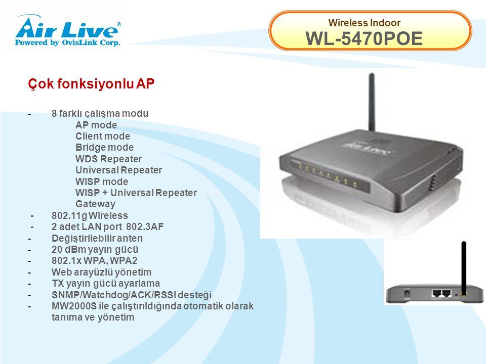 Wireless Indoor WL-5470POE Çok fonksiyonlu AP - 8 farklı çalışma modu AP mode Client mode Bridge mode WDS Repeater Universal Repeater WISP mode WISP + Universal Repeater Gateway -802.11g Wireless -2 adet LAN port 802.3AF - Değiştirilebilir anten - 20 dBm yayın gücü -802.1x WPA, WPA2 - Web arayüzlü yönetim - TX yayın gücü ayarlama - SNMP/Watchdog/ACK/RSSI desteği - MW2000S ile çalıştırıldığında otomatik olarak tanıma ve yönetim