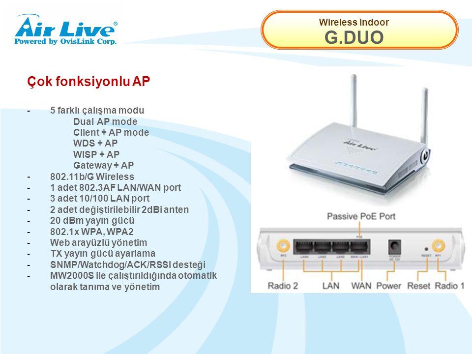 Wireless Indoor G.DUO Çok fonksiyonlu AP - 5 farklı çalışma modu Dual AP mode Client + AP mode WDS + AP WISP + AP Gateway + AP -802.11b/G Wireless - 1 adet 802.3AF LAN/WAN port - 3 adet 10/100 LAN port - 2 adet değiştirilebilir 2dBi anten - 20 dBm yayın gücü - 802.1x WPA, WPA2 - Web arayüzlü yönetim - TX yayın gücü ayarlama - SNMP/Watchdog/ACK/RSSI desteği - MW2000S ile çalıştırıldığında otomatik olarak tanıma ve yönetim