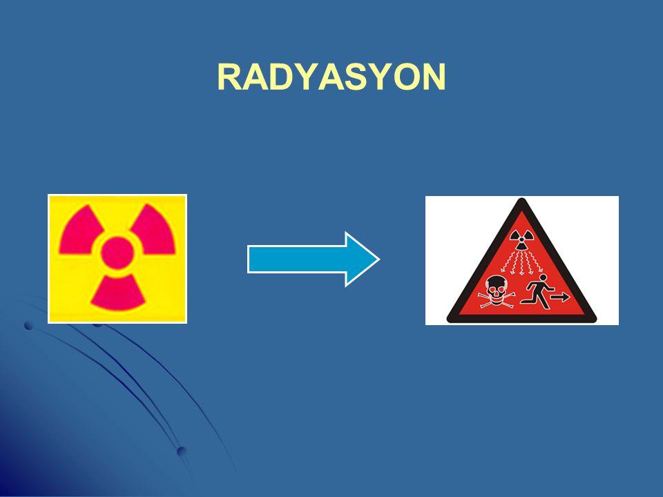 NÜKLEER RADYASYON NÜKLEER RADYASYON: Alfa, Beta ve Nötron Partikülleri ile X (Röntgen) ve Gama Işınlarının oluşturduğu elektromanyetik enerjidir. ANİ