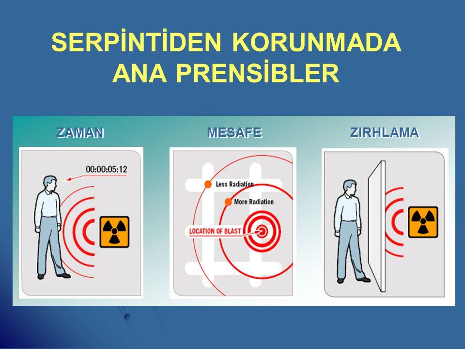 HASTALIK YAPICI DOZ MİKTARLARI - - 75 Röntgene kadar herkes için tehlikesiz alınabilecek radyasyon miktarı (Savaş Dozu) - 75-150 Röntgene kadar uzun s