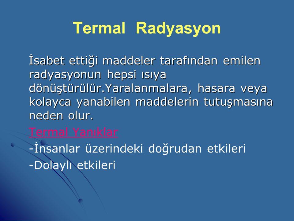 Termal Radyasyon   Termal radyasyon, nükleer patlama tarafından meydana getirilen ısı ve ışıktır.   Termal enerjinin toplamı silahın gücüyle orant