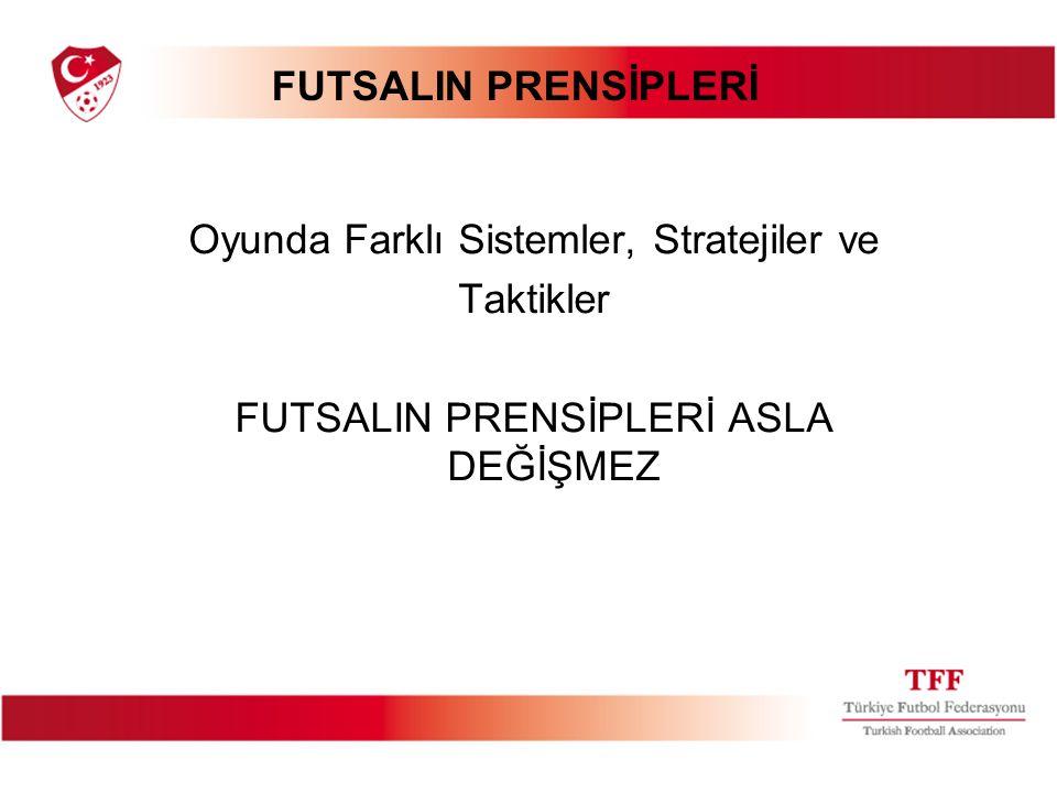 FUTSALIN PRENSİPLERİ Oyunda Farklı Sistemler, Stratejiler ve Taktikler FUTSALIN PRENSİPLERİ ASLA DEĞİŞMEZ