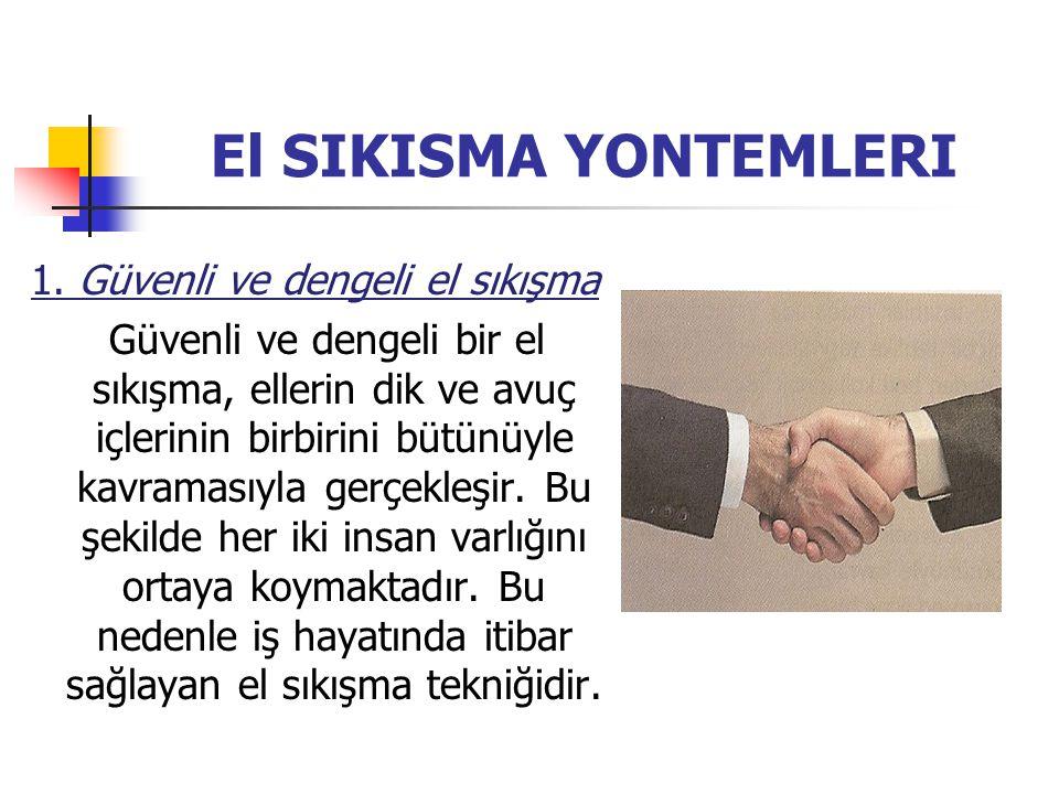 El SIKISMA YONTEMLERI 1. Güvenli ve dengeli el sıkışma Güvenli ve dengeli bir el sıkışma, ellerin dik ve avuç içlerinin birbirini bütünüyle kavramasıy