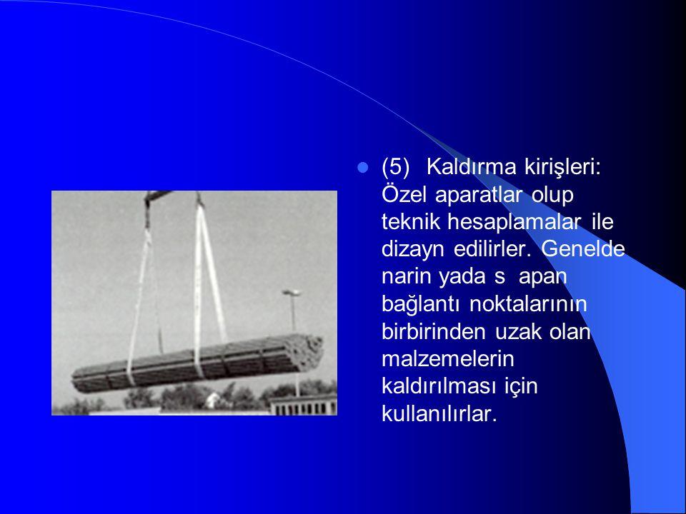  (5) Kaldırma kirişleri: Özel aparatlar olup teknik hesaplamalar ile dizayn edilirler.