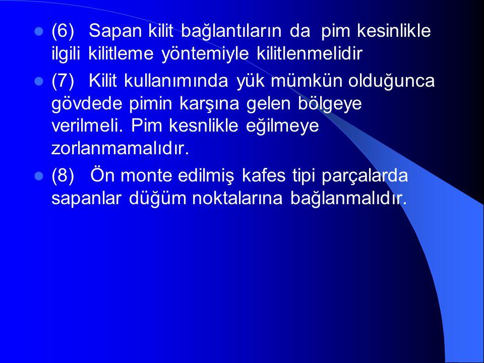  (6) Sapan kilit bağlantıların da pim kesinlikle ilgili kilitleme yöntemiyle kilitlenmelidir  (7) Kilit kullanımında yük mümkün olduğunca gövdede pimin karşına gelen bölgeye verilmeli.