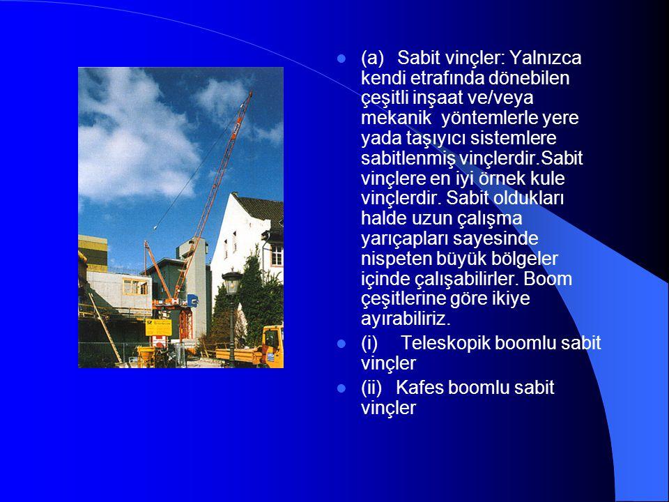  (a) Sabit vinçler: Yalnızca kendi etrafında dönebilen çeşitli inşaat ve/veya mekanik yöntemlerle yere yada taşıyıcı sistemlere sabitlenmiş vinçlerdi