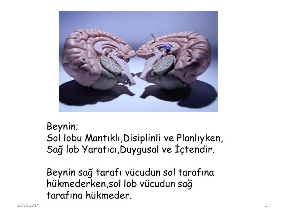 26.06.201437 Beynin; Sol lobu Mantıklı,Disiplinli ve Planlıyken, Sağ lob Yaratıcı,Duygusal ve İçtendir. Beynin sağ tarafı vücudun sol tarafına hükmede