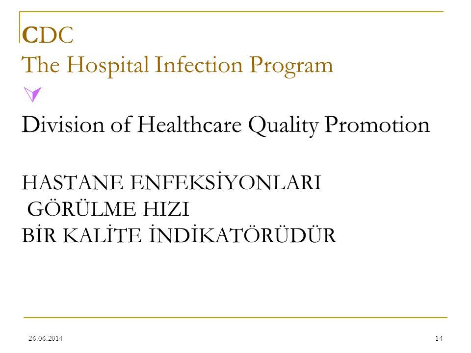 26.06.201414 CDC The Hospital Infection Program  Division of Healthcare Quality Promotion HASTANE ENFEKSİYONLARI GÖRÜLME HIZI BİR KALİTE İNDİKATÖRÜDÜ