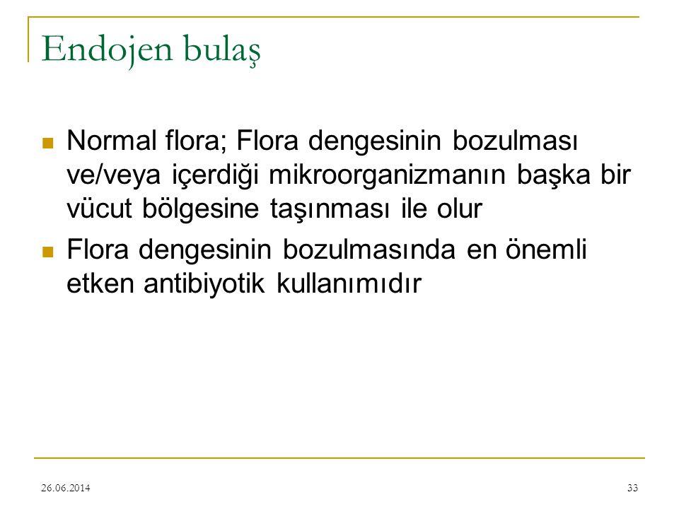 26.06.201433 Endojen bulaş  Normal flora; Flora dengesinin bozulması ve/veya içerdiği mikroorganizmanın başka bir vücut bölgesine taşınması ile olur