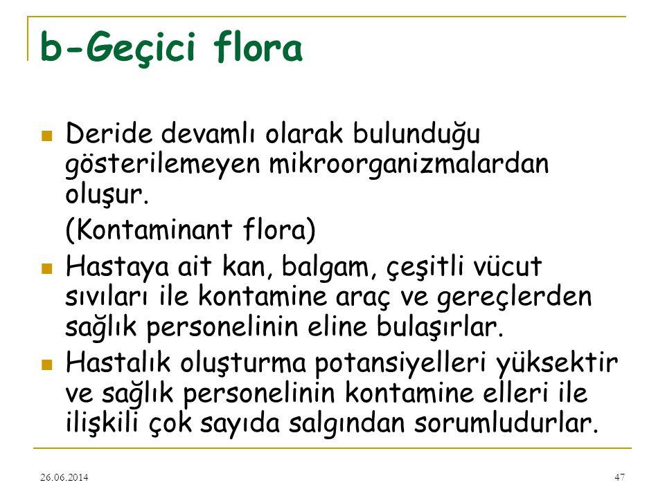 26.06.201447 b-Geçici flora  Deride devamlı olarak bulunduğu gösterilemeyen mikroorganizmalardan oluşur. (Kontaminant flora)  Hastaya ait kan, balga