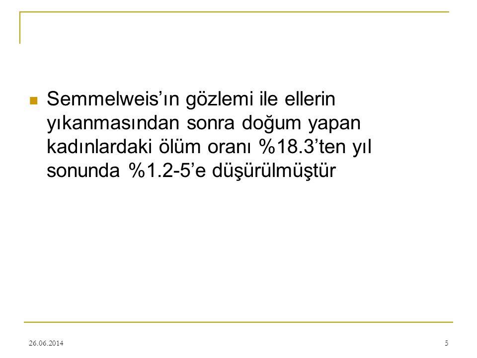 26.06.20145  Semmelweis'ın gözlemi ile ellerin yıkanmasından sonra doğum yapan kadınlardaki ölüm oranı %18.3'ten yıl sonunda %1.2-5'e düşürülmüştür